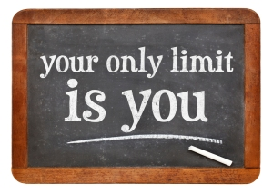 Your only limit is you - concept on blackboard